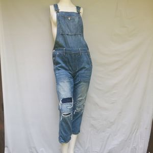 American Eagle denim overalls destroyed Small NWOT